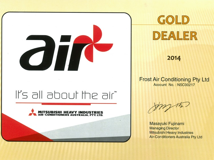 mitsubishi air conditioning gold dealer award