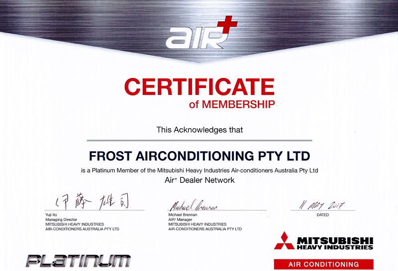 MHIaa frost air conditioning certificate